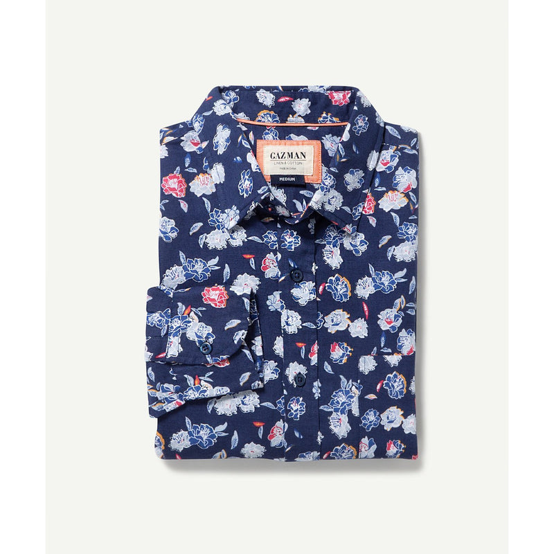 Long Sleeve Linen Blend Floral Shirt Navy