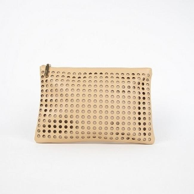 Octagonal Circle Cut Out Clutch Nude