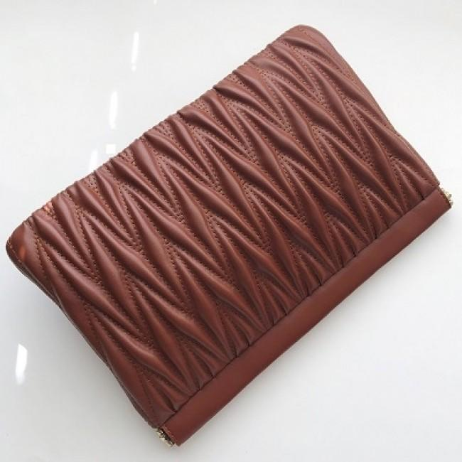 Quilted Tribal Metal Frame Clutch Tan