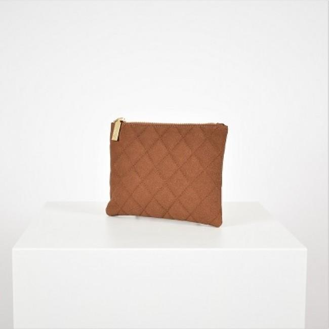 Quilted Vegan Suede Clutch Tan