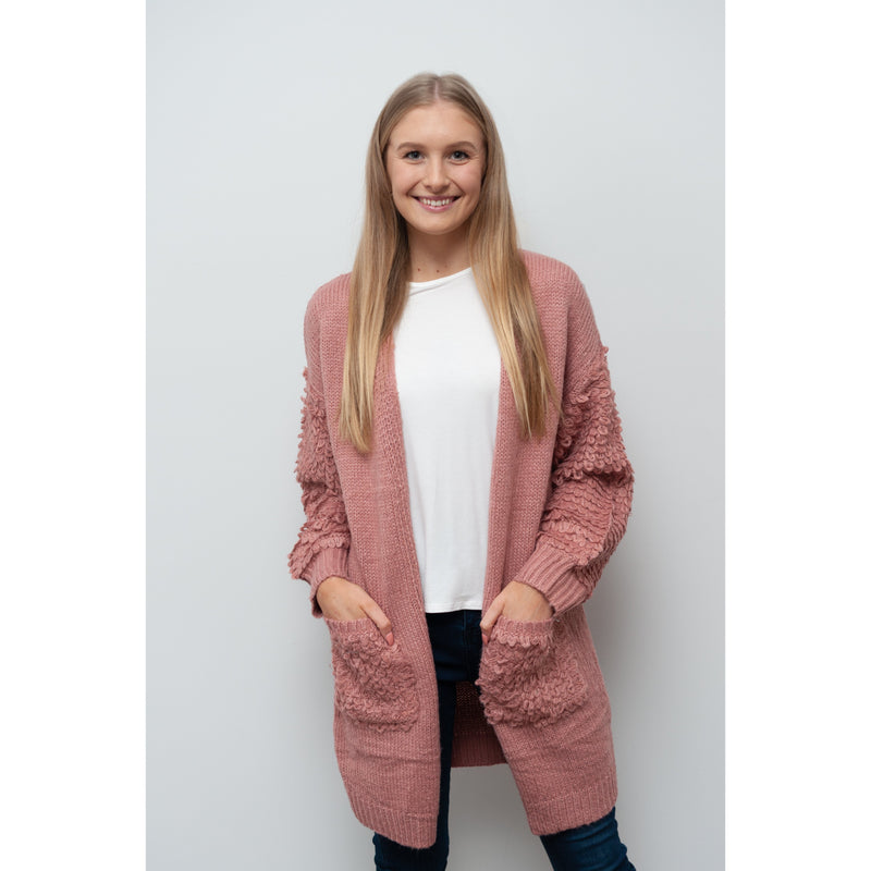 Stevie Shaggy Cardigan Pink