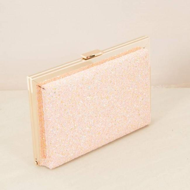 Textured Glitter Rasied Metal Edge Clutch