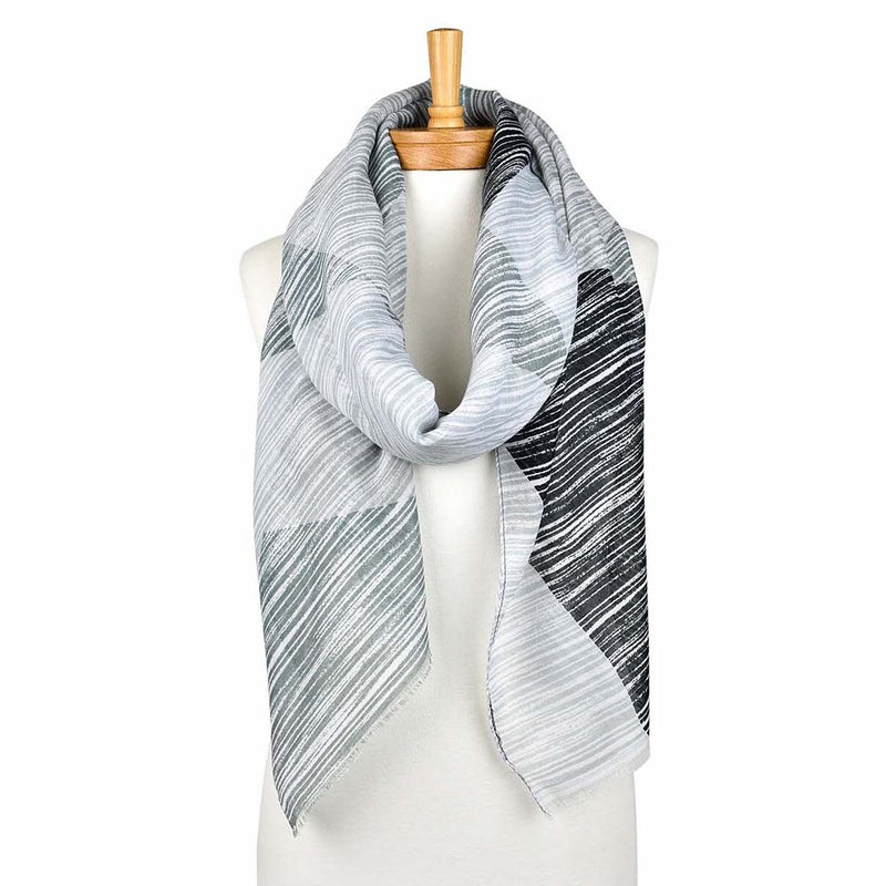 4 Colours Strip Scarf Grey