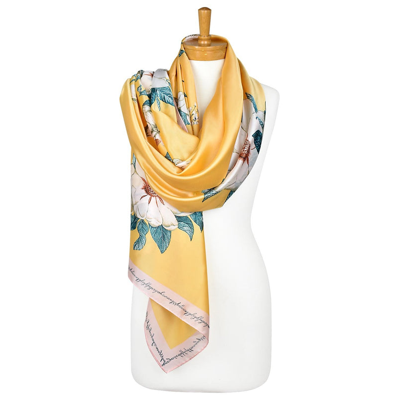 White Begonia Flower Scarf Yellow