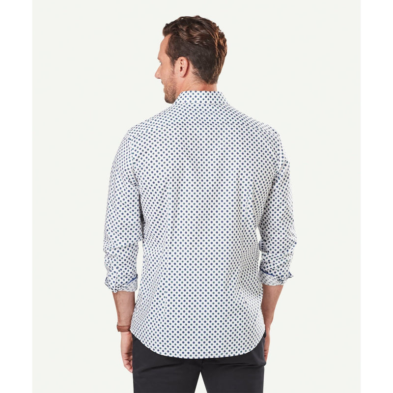 Tailored Floral Motif Printed Long Sleeve Shirt White
