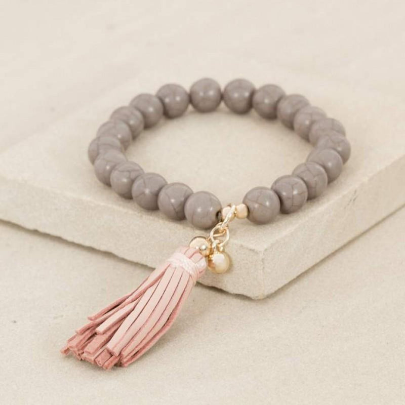 Leather Tassel Stone Bracelet
