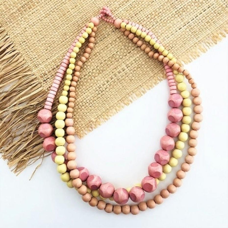 Tri Tone Timber Short Necklace Pink