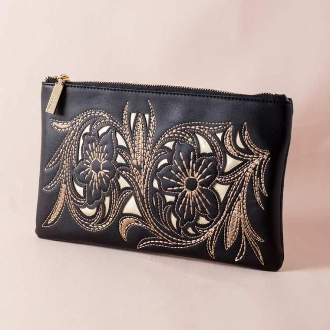 Stitched Floral Cut Out Zip Top Clutch Black