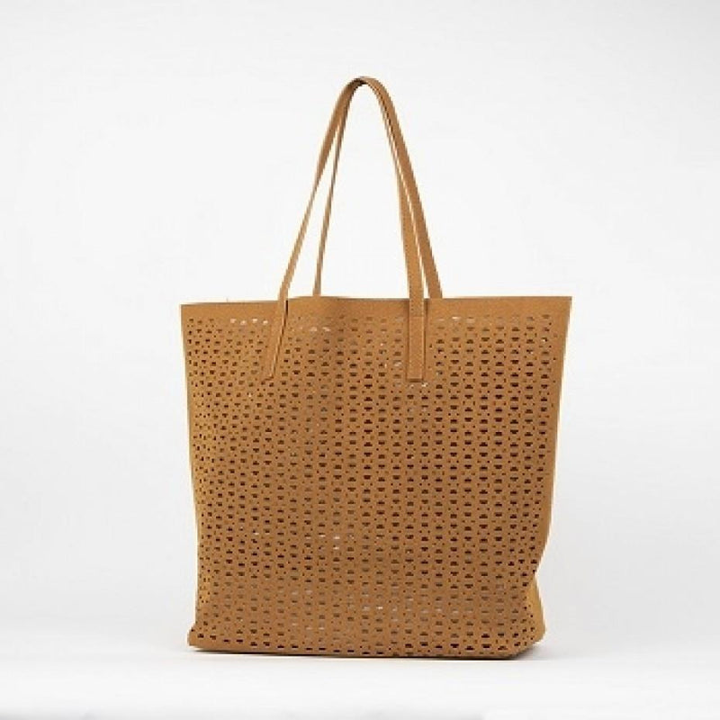 Cut Out Vegan Suede Tote Bag Camel