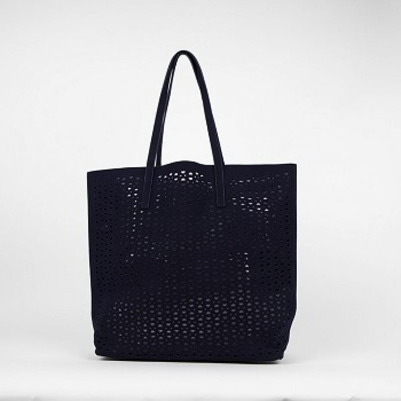 Cut Out Vegan Suede Tote Bag Navy