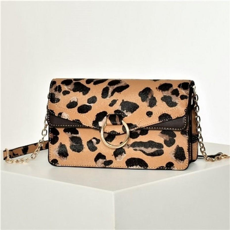 Leopard Print Fold Over Bag