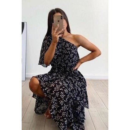Bells One Shoulder Floral Dress Black