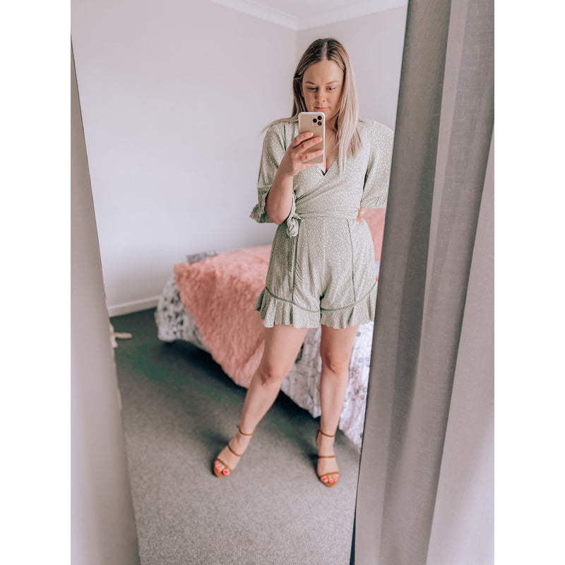 Brielle Spot Playsuit Olive