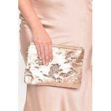 Two Tone Sequin Pouch Nude