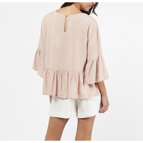Charlotte Frill Top Beige