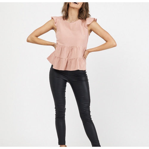 Hailey Frill Top Rose