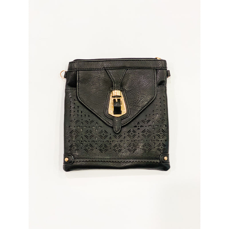 Ladies Gold Buckle Black Bag