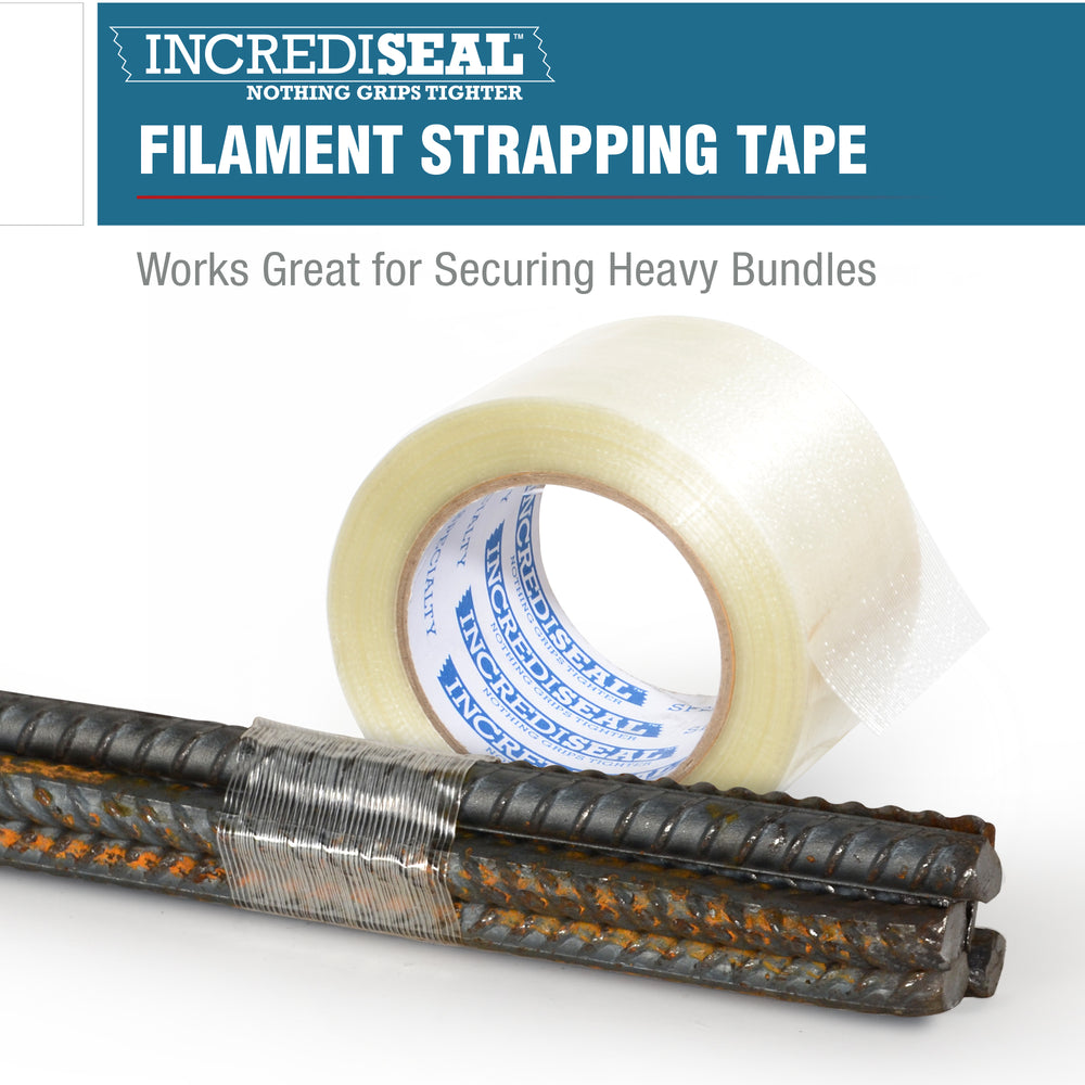 color: clear with filaments ~ alt: Custom Slit Filament Tape, 4.25 Mil, 60 Yards