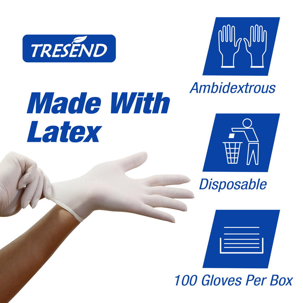 color: White ~ 1000 count ~ alt: Ambidextrous Disposable Latex Gloves