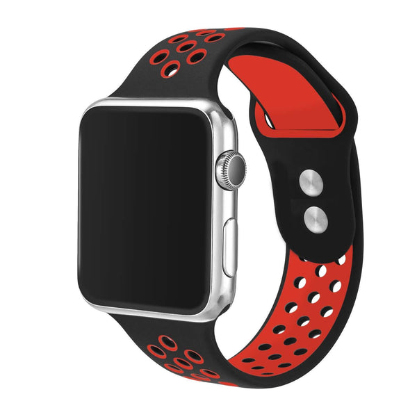 IntelCell - Breathable Silicone Sport Band for Apple iWatch 38mm IntelCell Black/Red