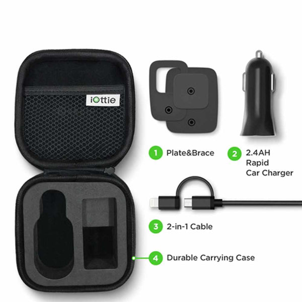 iTap Magnetic Vent Mounting and Charging Travel Kit Black Car charger iOttie