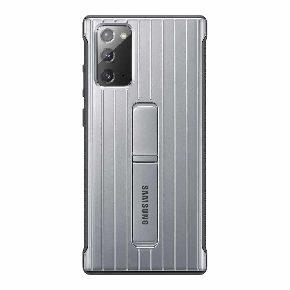 Samsung - Protective Standing Cover Case Silver for Galaxy Note20 Case Samsung