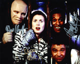 ROBERT LLEWELLYN, CHLOE ANNETT and DANNY JOHN-JULES as Kryten, Kochanski and The Cat - Red Dwarf