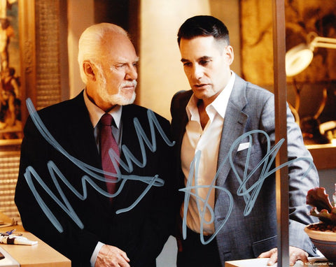 MALCOLM McDOWELL and ADRIAN PASDAR as Daniel Linderman and Nathan Petrelli - Heroes