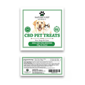 CBD pet treats for dogs and cats 2 MG CBD per serving ingredients
