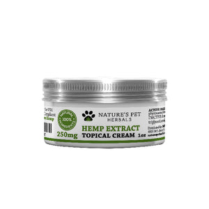 Hemp extract topical cream 250 MG for pets 1 oz container