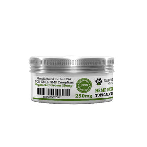 Hemp extract topical cream 250 MG for pets 1 oz container label