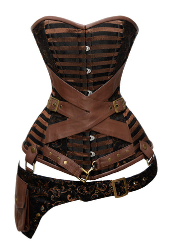 24 Double Steel Boned Strong Waist Training Leather Overbust Shaper Corset #1217
