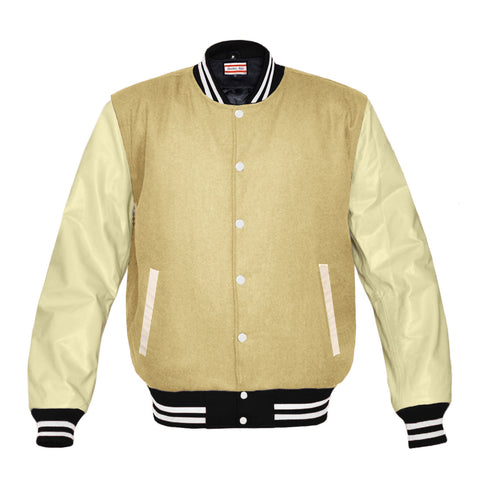 Wool Brown Cream Real Leather Arms  Baseball Letterman College Varsity Jacket