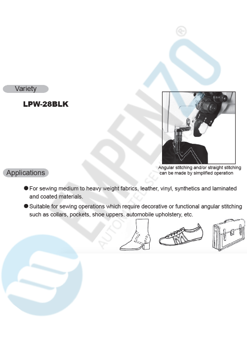LPW-28BLK (angular stitch) Two needle, High speed, Post bed, Large vertical axis hook, Compound feed and walking foot, Reverse stitch, Disengageable needle bars, Lockstitch machine. - empenzo.online