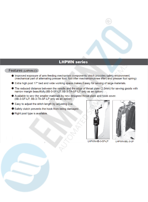 LHPWN series Single needle, High speed, Extra high post bed, Compound feed and walking foot, Reverse stitch, left post, Lockstitch machines. - empenzo.online
