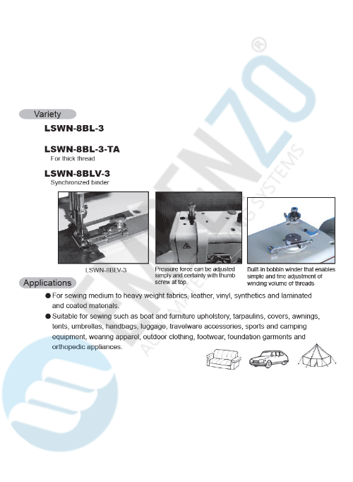 LSWN single needle series High speed, Large vertical axis hook, Reverse stitch, Compound feed and walking foot, Lockstitch machines. - empenzo.online