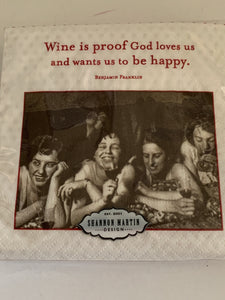 Beverage Napkins - Wine is proof