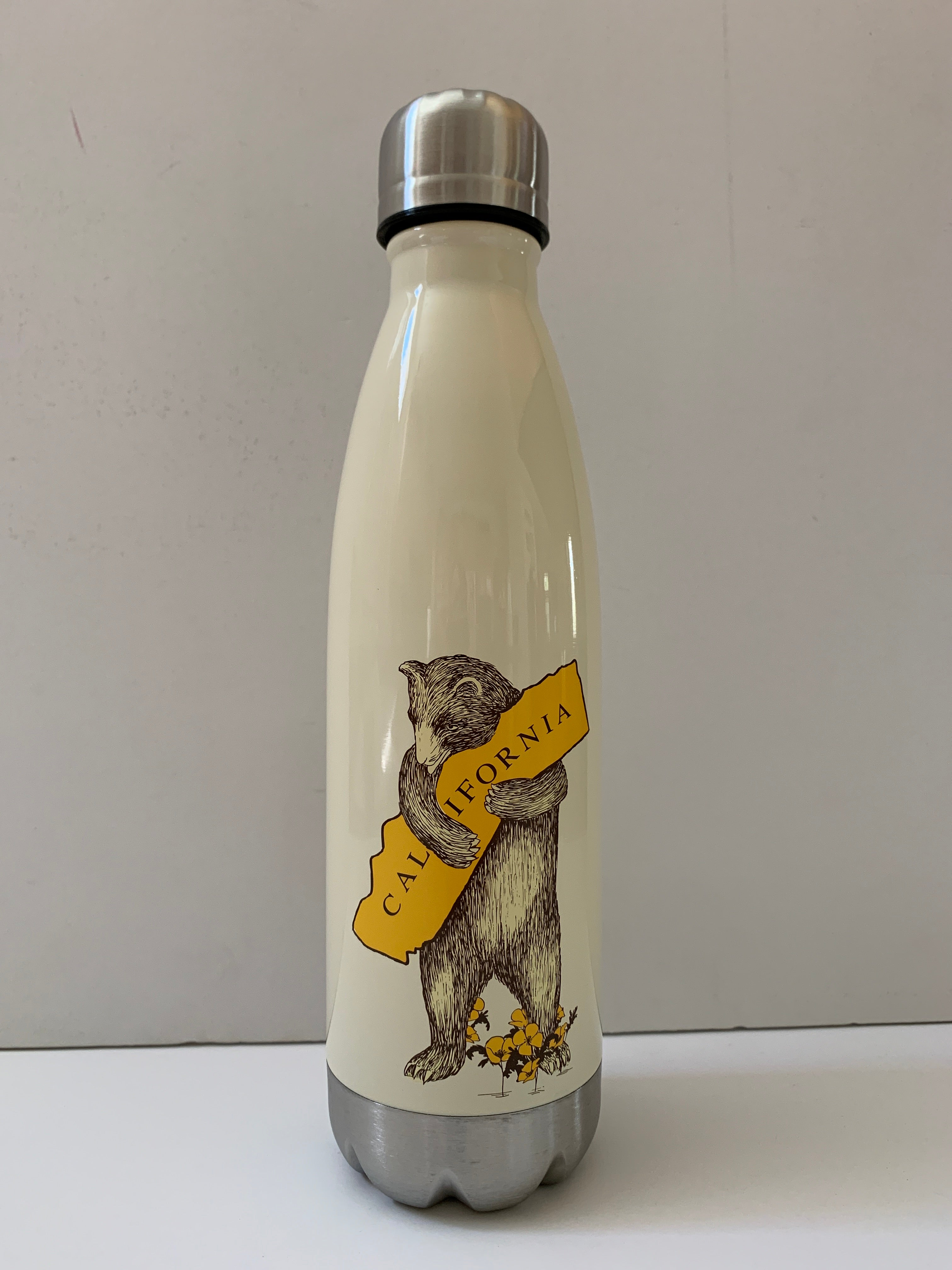 California Bear Hug Antique White/Cream Double Wall Insulated Stainless Steel Water Bottle
