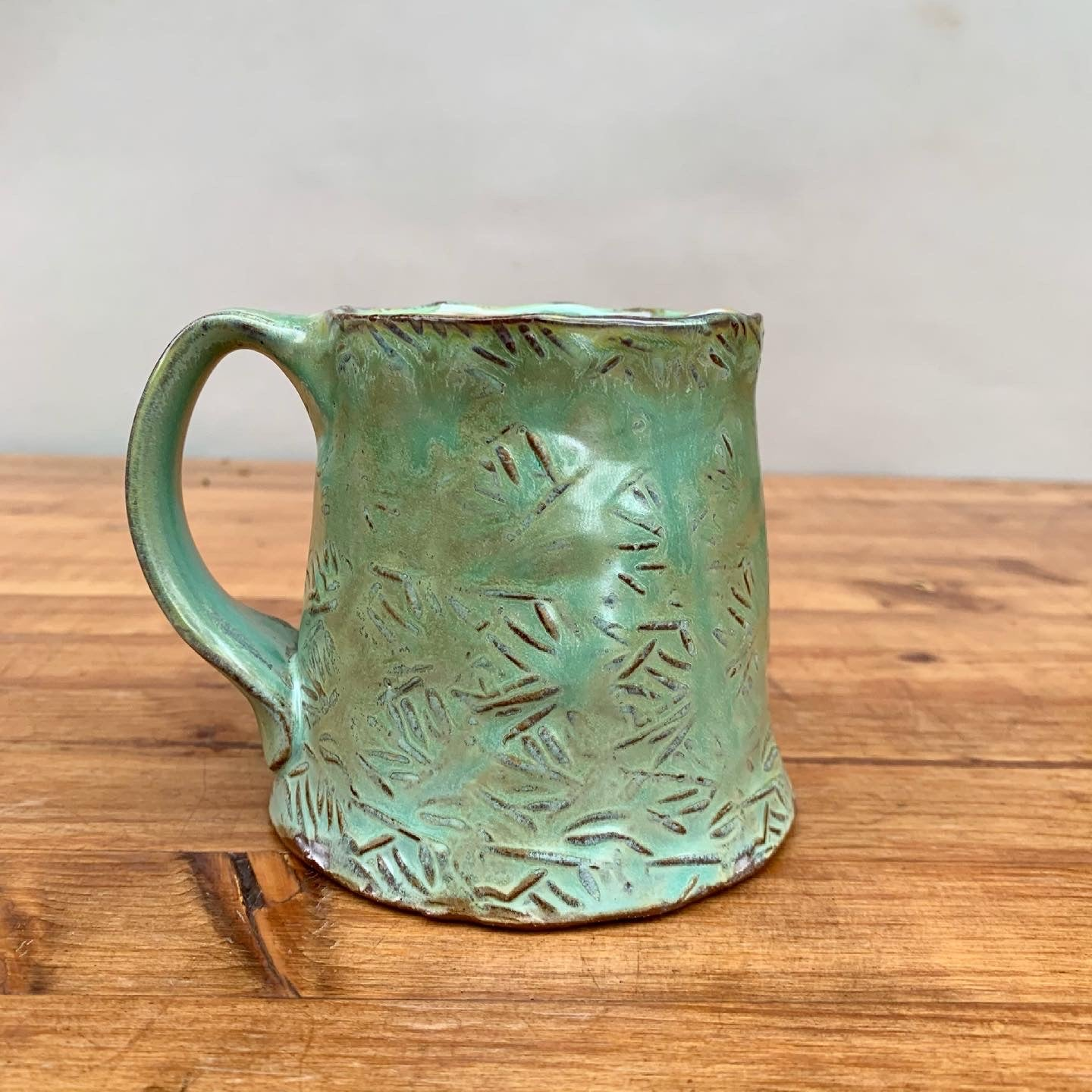 Copper & Green Stamped Mug
