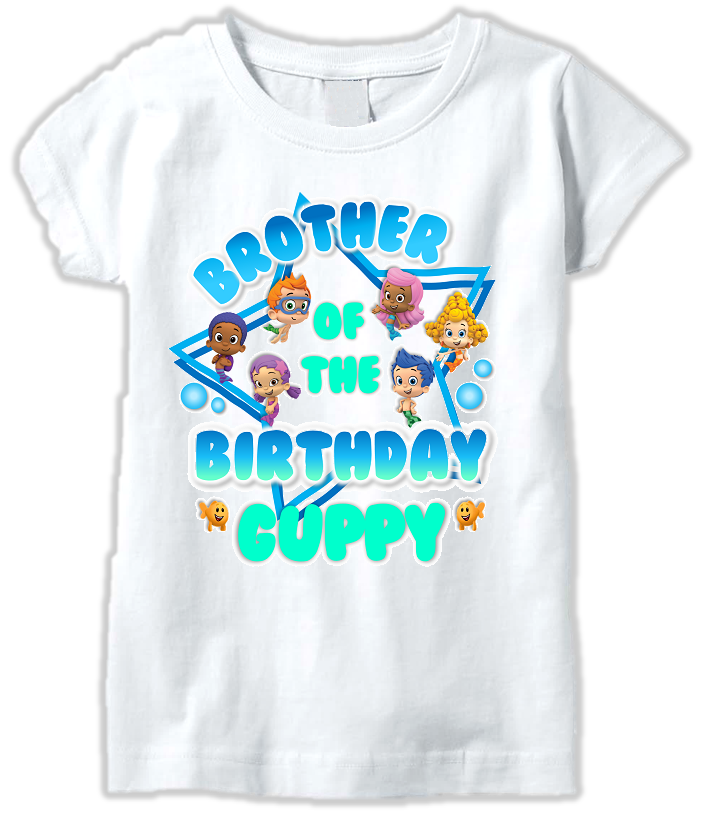 DESIGN255 - Birthday Bubble Guppies Brother T Shirt or Baby Bodysuit