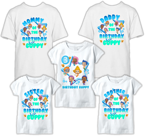 DESIGN259 - Birthday Bubble Guppies T Shirt - Family Pack
