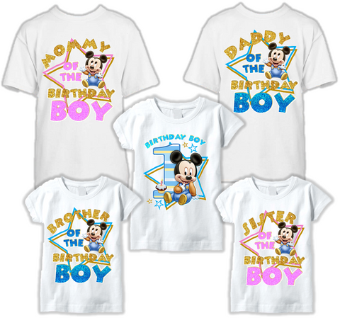 DESIGN071 - Birthday Baby Mickey Mouse T Shirt - Family Pack