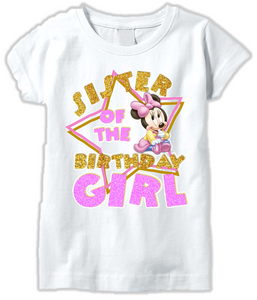 DESIGN009 - Birthday Baby Minnie Mouse Sister T Shirt or Baby Bodysuit