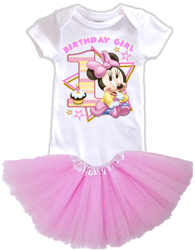 DESIGN001 - Birthday Baby Minnie Mouse Layered Tutu Outfit Dress Set - 2 Piece Set