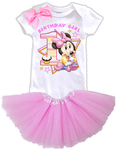 DESIGN002 - Birthday Baby Minnie Mouse Layered Tutu Outfit Dress Set - 3 Piece Set