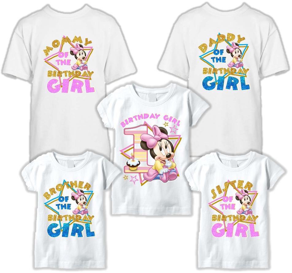 DESIGN012 - Birthday Baby Minnie Mouse T Shirt - Family Pack
