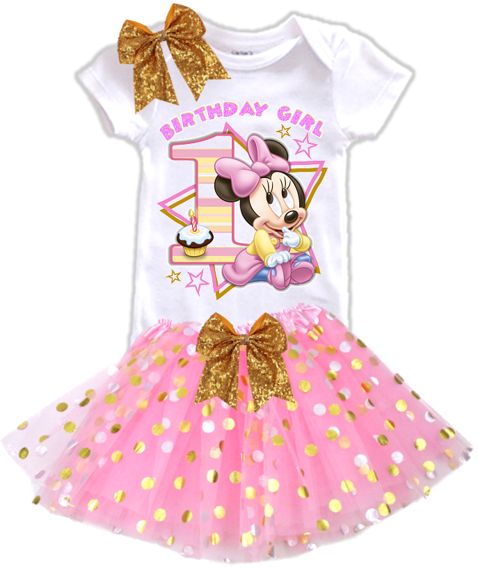 DESIGN004 - Birthday Baby Minnie Mouse Gold Dots Tutu Outfit Dress Set - 3 Piece Set