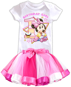 DESIGN005 - Birthday Baby Minnie Mouse Rainbow Ribbon Tutu Outfit Dress Set - 2 Piece Set