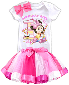 DESIGN006 - Birthday Baby Minnie Mouse Rainbow Ribbon Tutu Outfit Dress Set - 3 Piece Set