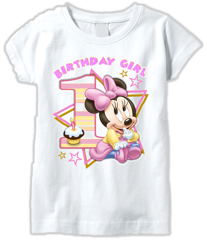DESIGN007 - Birthday Baby Minnie Mouse T Shirt or Baby Bodysuit